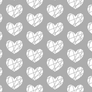 white heart on grey abstract