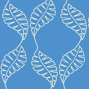 single line leaf blue