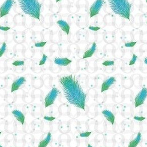 Damask Peacock Feather with Dots