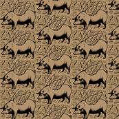 lots of flying pigs brown