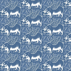 lots of flying pigs blue