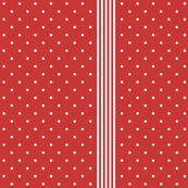 dots and stripes Turkey Red and off-white