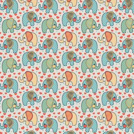 Baby Elephants & Hearts Orange Blue Grey