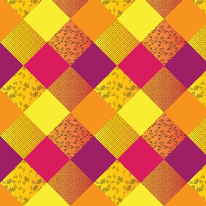 Bright Quilt in Warm Tones