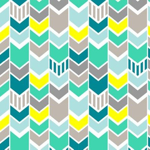 Teal Gray Yellow Chevron half scale