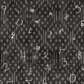 Math Symbols on Chalkboard