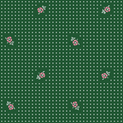 Flowers & Polka Dots - Forest Green & Rose Pink