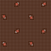 Flowers & Polka Dots - Brown & Red
