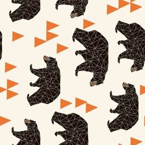 Geometric Bear - Cream with Orange Triangles by Andrea Lauren