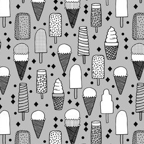 ice cream // tropical summer ice cream cones grey kids summer trropical print