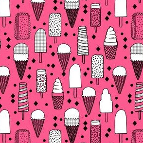 Ice Cream - Bright Pink/Grid (Smaller Version) by Andrea Lauren