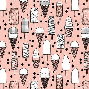 Ice Cream -  Pale Pink/Grid (Smaller Size) by Andrea Lauren
