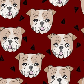 English Bulldog - Maroon by Andrea Lauren