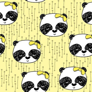 Panda with Bow - Lemon Yellow by Andrea Lauren