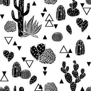 Cactus - Geo Triangles Black and White  by Andrea Lauren