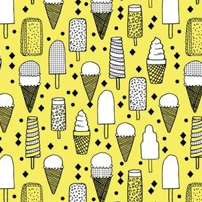 Ice Cream - Canary Yellow/Grid (Smaller Version) by Andrea Lauren