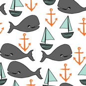 Nautical - Mint/Charcoal/Orange by Andrea Lauren