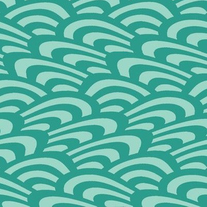 wavy scallop in teal