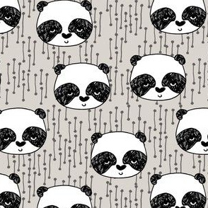 Panda - Light Grey background (Small Size) by Andrea Lauren