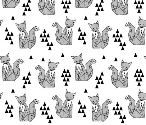 Geometric Sitting Fox - Monochrome Minimal Black and White Kids Scandi Triangle Design by Andrea Lauren