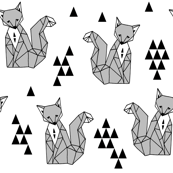 Geometric Sitting Fox - Monochrome Minimal Black and White Kids Scandi Triangle Design by Andrea Lauren