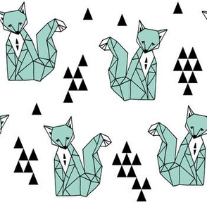 Geometric Sitting Fox - Pale Turquoise by Andrea Lauren