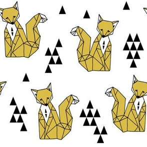 Geometric Sitting Fox - Mustard by Andrea Lauren