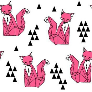 Geometric Sitting Fox - Pink by Andrea Lauren