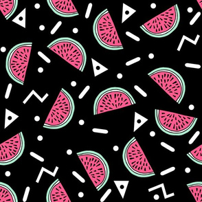 Watermelon Party - Black/Pink/Light Jade with zigzags and triangles by Andrea Lauren