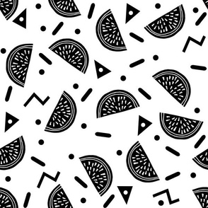 Watermelon Party - Black and White Minimal Monochrome Version by Andrea Lauren