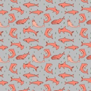sharks // shark fabric grey and coral shark design shark pattern sharks shark print andrea lauren
