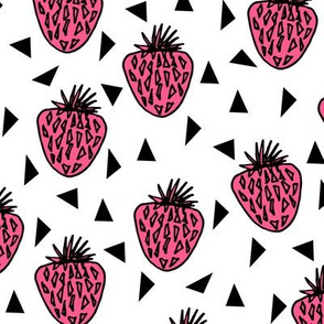 Strawberries - Pink/White Background by Andrea Lauren