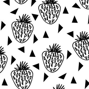 Strawberries - White and Black Minimal Monochrome Version by Andrea Lauren
