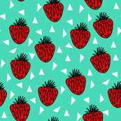 Strawberries - Red/Light Jade Background by Andrea Lauren
