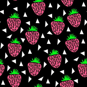 Strawberries - Lime/Pink/Black Background by Andrea Lauren