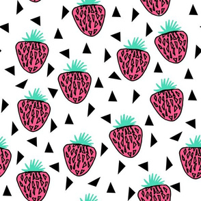 Strawberries - Pink/Light Jade/White Background by Andrea Lauren