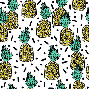 Pineapple Party - Light Jade White Background by Andrea Lauren