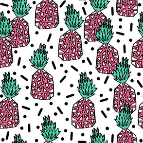 Party Pineapple - Pink/White Background by Andrea Lauren