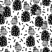 Party Pineapple - Black & White by Andrea Lauren
