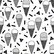 Ice Cream Party - Black & White/Minimal/Monochrome/Grid/Triangle by Andrea Lauren