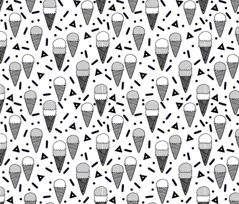 Ice cream memphis tropical black and white rad kids for Black and white childrens fabric