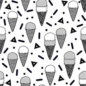 ice cream // memphis tropical black and white rad kids summer food sweets print
