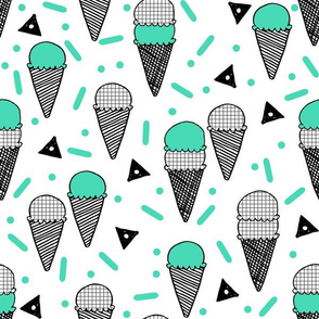 Ice Cream Party - Light Jade/Grid by Andrea Lauren