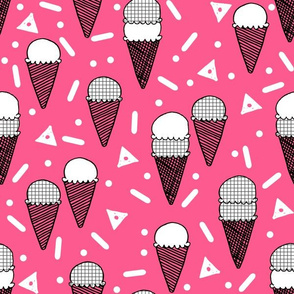 Ice Cream Party - Bright Pink/Grid by Andrea Lauren