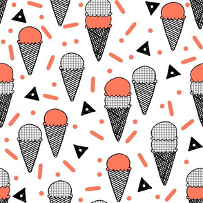 Ice Cream Party - Carrot/White Background by Andrea Lauren