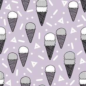 Ice Cream Party - Lavender/Grid by Andrea Lauren