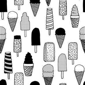 ice cream // ice cream cones black and white kids fun tropical summer sweets fabric print design