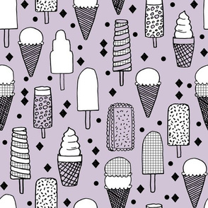 Ice Cream - Lavender/Grid/Black & White by Andrea Lauren