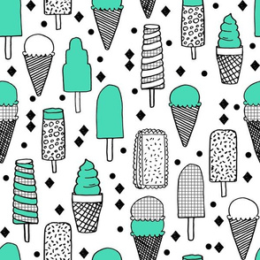 Ice Cream - Grid/Jade/Black & White by Andrea Lauren