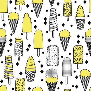 Ice Cream - Grid/Canary Yellow/Diamond by Andrea Lauren